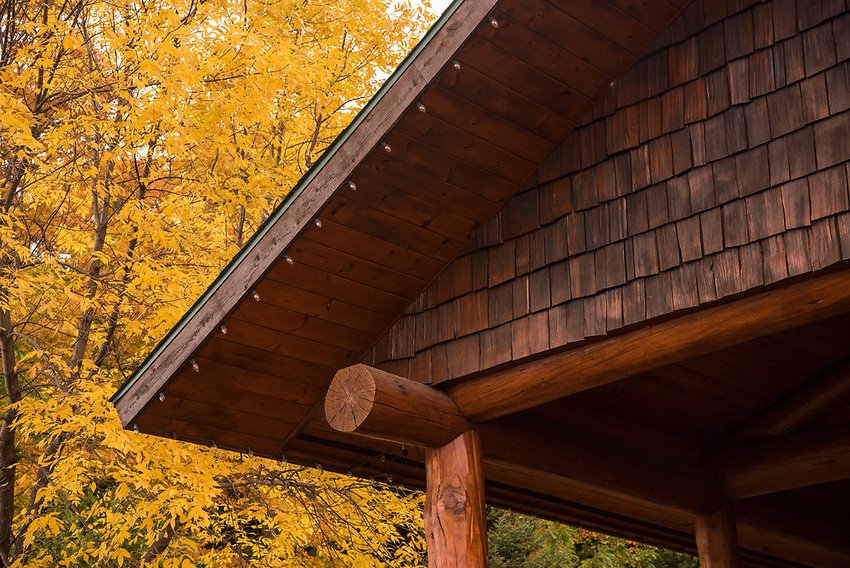 Fall color and rustic building at Presque Isle Park, Marquette, Michigan.