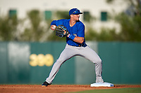 Dunedin Blue Jays second baseman Cavan Biggio (4) turns a double play during a game against the Florida Fire Frogs on April 10, 2017 at Osceola County Stadium in Kissimmee, Florida.  Florida defeated Dunedin 4-0.  (Mike Janes/Four Seam Images)