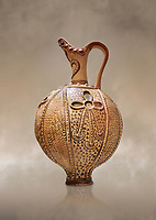 Minoan decorated ritual ewer with a sacral knot relief , Konssos-Little Palace 1450-1370 BC; Heraklion Archaeological  Museum