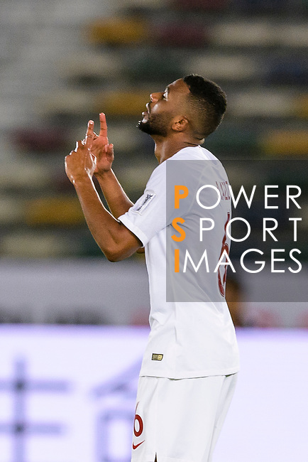 Abdel Aziz Hatim of Qatar celebrates after scoring his goal during the AFC Asian Cup UAE 2019 Quarter Finals match between Qatar (QAT) and South Korea (KOR) at Zayed Sports City Stadium  on 25 January 2019 in Abu Dhabi, United Arab Emirates. Photo by Marcio Rodrigo Machado / Power Sport Images