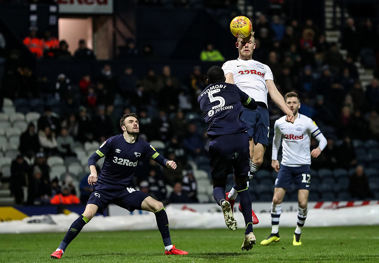 Preston North End's Jayden Stockley heads at goal<br /> <br /> Photographer Andrew Kearns/CameraSport<br /> <br /> The EFL Sky Bet Championship - Preston North End v Derby County - Friday 1st February 2019 - Deepdale Stadium - Preston<br /> <br /> World Copyright © 2019 CameraSport. All rights reserved. 43 Linden Ave. Countesthorpe. Leicester. England. LE8 5PG - Tel: +44 (0) 116 277 4147 - admin@camerasport.com - www.camerasport.com