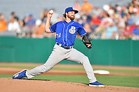 Biloxi Shuckers starting pitcher Alec Bettinger (31) delivers a pitch during a game against the Tennessee Smokies at  on August 10, 2019 in Kodak, Tennessee. The Shuckers defeated the Smokies 7-3. (Tony Farlow/Four Seam Images)