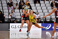 Central Manawa&rsquo;s Jessica Fagan-Pease and Hellers Mainland&rsquo;s Kelsey Ashworth in action during the Beko Netball League - Central Manawa v Hellers Mainland at Fly Palmy Arena, Palmerston North, New Zealand on Sunday 10 March 2019. <br /> Photo by Masanori Udagawa. <br /> www.photowellington.photoshelter.com