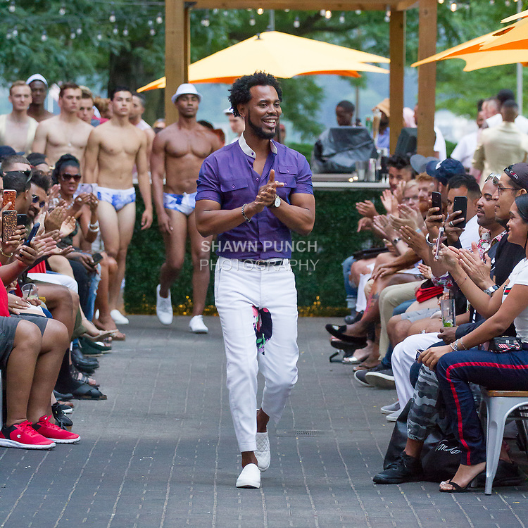 """Fashion designer Edwing D'Angelo thanks audience for attending his Edwing D'Angelo Spring Summer 2019 """"Pristine"""" collection fashion show at Sofrito in New York City on July 11, 2018; during New York Fashion Week: Men's Spring Summer 2019."""