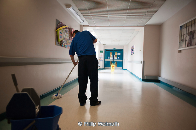 At Musgrave Park Hospital all cleaning, catering, portering and security staff are directly employed by Belfast Health and Social Care Trust, following the expiry of a 15 year contract with Mediclean in 2010.  It was the last hospital in Northern Ireland to use a private contractor for the delivery of 'hotel' services.  All such services in NI are now in-house.
