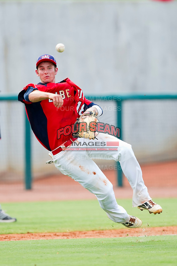 Third baseman Daniel Robertson #18 of Babe Ruth makes an off balance throw to first base against AABC at the 2011 Tournament of Stars at the USA Baseball National Training Center on June 26, 2011 in Cary, North Carolina.  Babe Ruth defeated AABC 3-2 in the Gold Medal game. (Brian Westerholt/Four Seam Images)