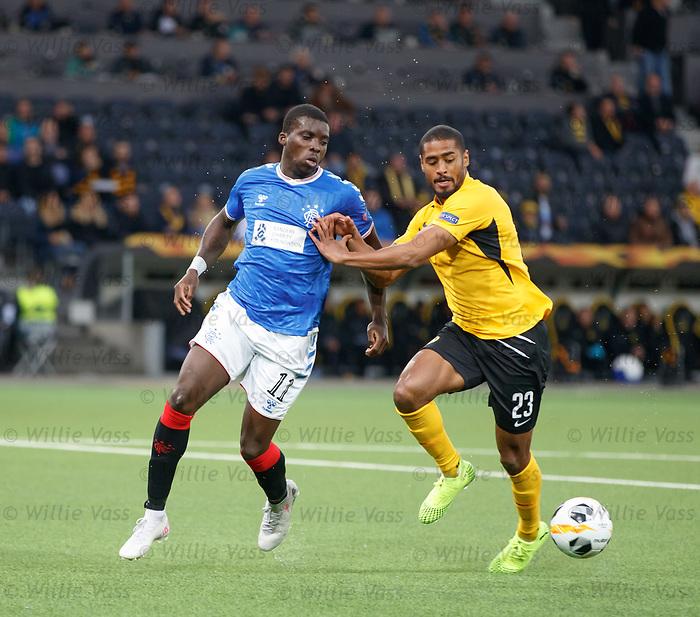 03.10.2019 Young Boys of Bern v Rangers: Sheyi Ojo and Saidy Janko