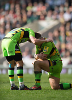 Stephen Myler and Paul Hill of Northampton Saints. Aviva Premiership match, between Leicester Tigers and Northampton Saints on April 14, 2018 at Welford Road in Leicester, England. Photo by: Patrick Khachfe / JMP