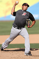 Angel Raga #33 of the High Desert Mavericks pitches against the Inland Empire 66'ers at San Manuel Stadium on April 29, 2012 in San Bernardino,California. Inland Empire defeated High Desert 3-0.(Larry Goren/Four Seam Images)