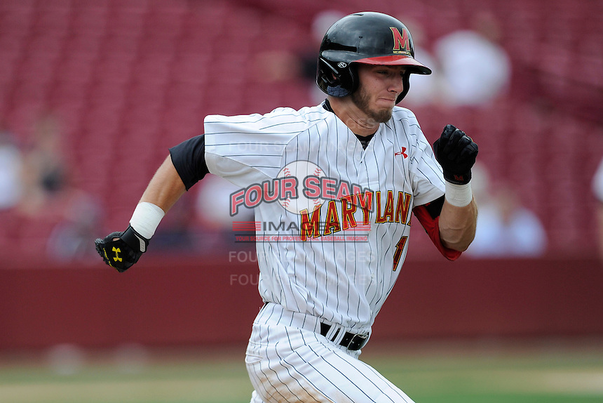 Shortstop Blake Schmit (1) of the Maryland Terrapins in an NCAA Division I Baseball Regional Tournament game against the Old Dominion Monarchs on Friday, May 30, 2014, at Carolina Stadium in Columbia, South Carolina. Maryland won, 4-3. (Tom Priddy/Four Seam Images)