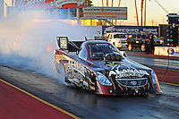 Jan 25, 2009; Chandler, AZ, USA; NHRA funny car driver Del Worsham does a burnout during testing at the National Time Trials at Firebird International Raceway. Mandatory Credit: Mark J. Rebilas-
