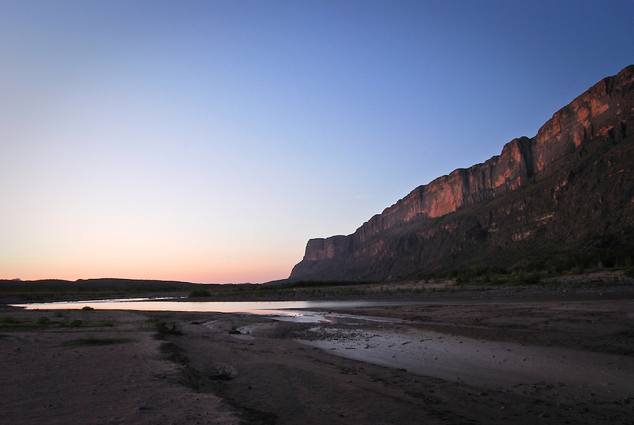 Rio Grande landscape at dawn as it flows south from Santa Elena Canyon, Big Bend National Park, Texas, USA.