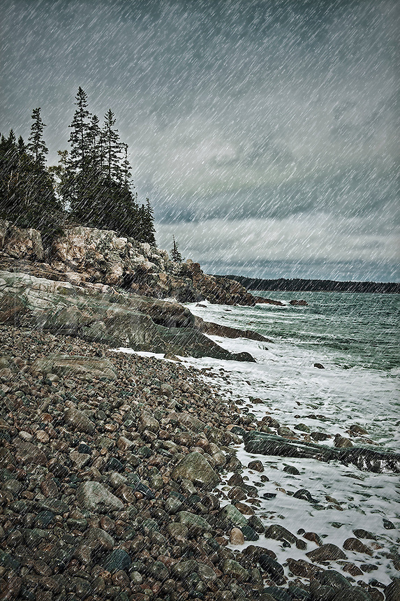 Coastal rain storm, Maine, USA