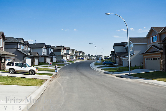 Suburban development near Calgary in the Bow River valley
