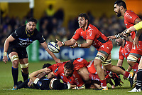 Facundo Isa of RC Toulon passes the ball. European Rugby Champions Cup match, between Bath Rugby and RC Toulon on December 16, 2017 at the Recreation Ground in Bath, England. Photo by: Patrick Khachfe / Onside Images