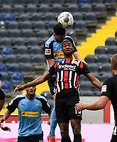 Alassane Plea (Borussia Moenchengladbach), Ramy Bensebaini (Borussia Moenchengladbach), Almamy Toure (Eintracht Frankfurt)<br />  - 16.05.2020, Fussball 1.Bundesliga, 26.Spieltag, Eintracht Frankfurt  - Borussia Moenchengladbach emspor, v.l. Stadionansicht / Ansicht / Arena / Stadion / Innenraum / Innen / Innenansicht / Videowall<br /> <br /> <br /> Foto: Jan Huebner/Pool VIA Marc Schüler/Sportpics.de<br /> <br /> Nur für journalistische Zwecke. Only for editorial use. (DFL/DFB REGULATIONS PROHIBIT ANY USE OF PHOTOGRAPHS as IMAGE SEQUENCES and/or QUASI-VIDEO)