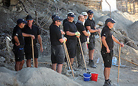 Pictured: The forensics team before they sift through soil at the farmhouse, where Ben Needham disappeared from in Kos, Greece. Friday 07 October 2016<br />Re: Police teams led by South Yorkshire Police, searching for missing toddler Ben Needham on the Greek island of Kos have moved to a new area in the field they are searching.<br />Ben, from Sheffield, was 21 months old when he disappeared on 24 July 1991 during a family holiday.<br />Digging has begun at a new site after a fresh line of inquiry suggested he could have been crushed by a digger.