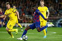 27th November 2019; Camp Nou, Barcelona, Catalonia, Spain; UEFA Champions League Football, Barcelona versus Borussia Dortmund;  Dembele shoots on goal as Piszczek closes in - Editorial Use