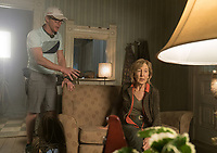 Insidious: The Last Key (2018) <br /> Director ADAM ROBITEL and Lin Shaye <br /> *Filmstill - Editorial Use Only*<br /> CAP/MFS<br /> Image supplied by Capital Pictures