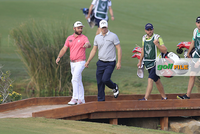 Andy Sullivan (ENG) and Alex Noren (SWE) on the 14th hole during Thursday's Round 1 of the 2016 Portugal Masters held at the Oceanico Victoria Golf Course, Vilamoura, Algarve, Portugal. 19th October 2016.<br /> Picture: Eoin Clarke | Golffile<br /> <br /> <br /> All photos usage must carry mandatory copyright credit (&copy; Golffile | Eoin Clarke)