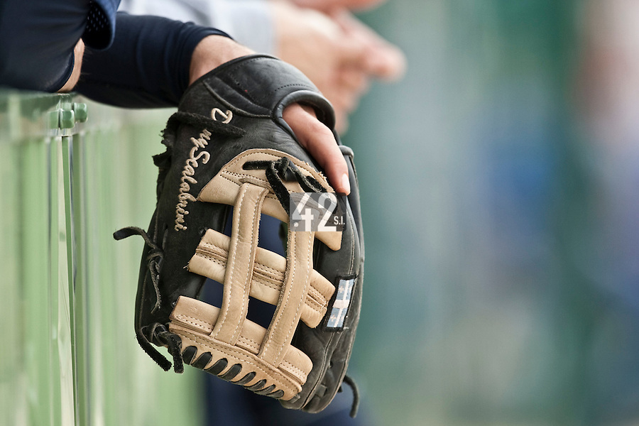 21 May 2009: A glove is seen in the dugout during the 2009 challenge de France, a tournament with the best French baseball teams - all eight elite league clubs - to determine a spot in the European Cup next year, at Montpellier, France.
