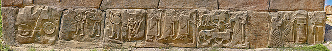 Hittite bas relief sculpture orthostat panels from the Sphinx Gate of Alaca Hoyuk Archaeological site, Turkey.