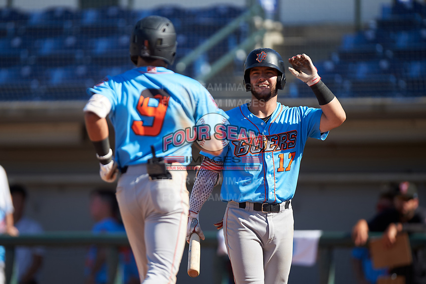 Inland Empire 66ers Jordyn Adams (9) is congratulated by Orlando Martinez (17) after hitting his first California League home run during a game against the Rancho Cucamonga Quakes at LoanMart Field on September 2, 2019 in Rancho Cucamonga, California. Rancho Cucamonga defeated Inland Empire 4-3. (Zachary Lucy/Four Seam Images)