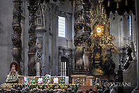 Pope Francis, Gian Lorenzo Bernini Altar at St. Peter's Basilica in Vatican.during the mass New Cardinals on February 15 2015