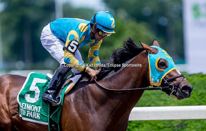 June 8, 2019 : #5, Majid, ridden by jockey Luis Saez, wins the Easy Goer on Belmont Stakes Festival Saturday at Belmont Park in Elmont, New York. Kaz Ishida/Eclipse Sportswire/CSM