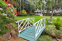 Gardens with bridge, gazebo and bench at Maui Tropical Plantation. Maui. Hawaii