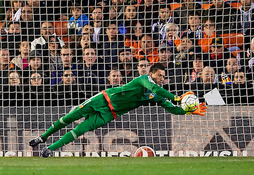 06.03.2016. Mestalla Stadium, Valencia, Spain. La Liga match between Valencia versus Atletico Madrid. Goalkeeper Diego Alves of Valencia CF with the diving save