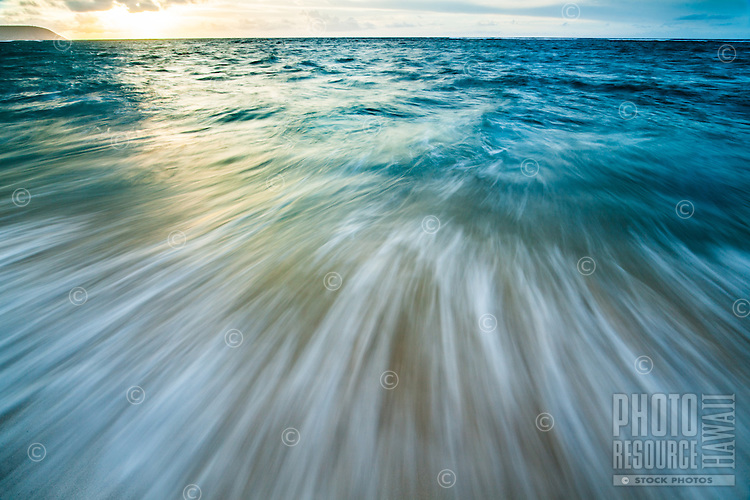 A long exposure image of a dynamic ocean off of southeastern O'ahu.