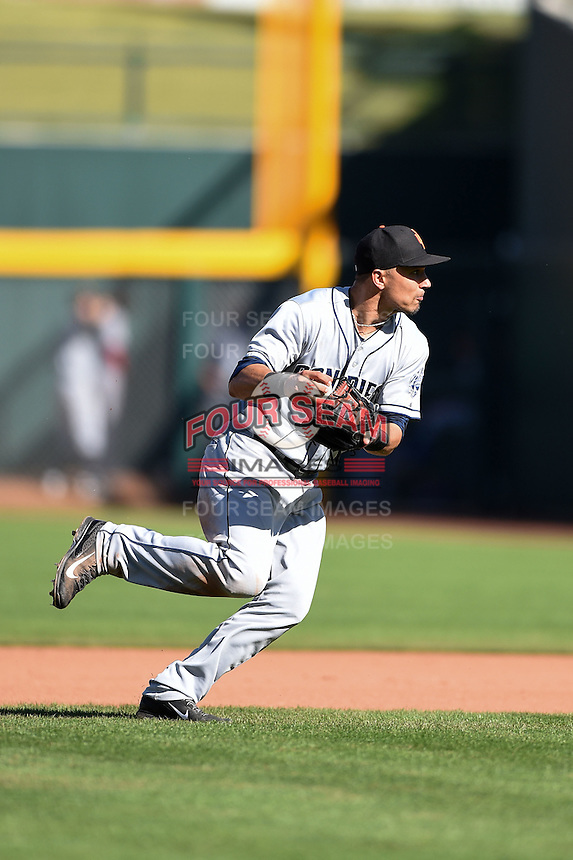 Surprise Saguaros infielder Jace Peterson (33) during an Arizona Fall League game against the Mesa Solar Sox on October 17, 2014 at Cubs Park in Mesa, Arizona.  Mesa defeated Mesa 5-3.  (Mike Janes/Four Seam Images)