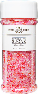 10206 Cherry Pink Sparkling Sugar, Tall Jar 7.5 oz, India Tree Storefront