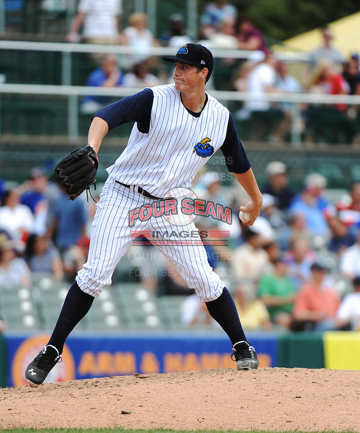 Trenton Thunder pitcher Nik Turley (45) during game against the Harrisburg Senators at ARM & HAMMER Park on July 31, 2013 in Trenton, NJ.  Harrisburg defeated Trenton 5-3.  (Tomasso DeRosa/Four Seam Images)