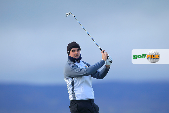 Alan Lowry (Esker Hills) on the 4th tee during Matchplay Round 1 of the West of Ireland Amateur Open Championship at the Co. Sligo Golf Club in Rosses Point on Sunday 27th March 2016.<br /> Picture:  Golffile / Thos Caffrey