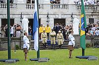 RIO DE JANEIRO, RJ, 15 AGOSTO 2012 -  HASTEAMENTO DA BANDEIRA OLIMPICA NO PALACIO DA CIDADE- O Prefeito do Rio de Janeiro, Eduardo Paes e Carlos Arthur Nuzman, Presidente do Comite Olimpico Brasileiro participam do hasteamento da Bandeira Olimpica,nesta tarde de quarta feira, 15 de agotso,no Palacio da Cidade, em Botafogo, zona sul do Rio de Janeiro.(FOTO:MARCELO FONSECA / BRAZIL PHOTO PRESS).