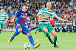 Jose Paulo Bezerra Maciel Junior, Paulinho, of FC Barcelona (L) fights for the ball with Alejandro Galvez Jimena of SD Eibar (R) during the La Liga 2017-18 match between FC Barcelona and SD Eibar at Camp Nou on 19 September 2017 in Barcelona, Spain. Photo by Vicens Gimenez / Power Sport Images