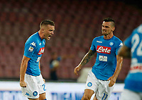 Piotr Zielinski celebrates after scoring during the  italian serie a soccer match,between SSC Napoli and Atalanta      at  the San  Paolo   stadium in Naples  Italy , August 27, 2017