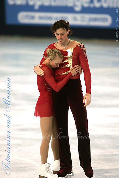 November 19, 2005; Paris, France; Figure skating stars TATIANA TOTMIANINA and MAXIM MARININ of Russia moments after skating to gold in pairs figure skating at Trophee Eric Bompard, ISU Paris Grand Prix competition.  Totmianina and Marinin are one of the favorites for medals in pairs at the Torino 2006 Olympics..Mandatory Credit: Tom Theobald/.Copyright 2005 Tom Theobald