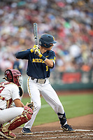 Michigan Wolverines third baseman Blake Nelson (10) at bat during Game 6 of the NCAA College World Series against the Florida State Seminoles on June 17, 2019 at TD Ameritrade Park in Omaha, Nebraska. Michigan defeated Florida State 2-0. (Andrew Woolley/Four Seam Images)