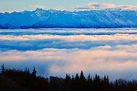 Kachemak Bay and Kenai Mountains during winter sunset from Homer, Alaska