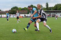 Garry Thompson of Wycombe Wanderers holds off Sam Barratt of Maidenhead United during the Friendly match between Maidenhead United and Wycombe Wanderers at York Road, Maidenhead, England on 30 July 2016. Photo by Alan  Stanford PRiME Media Images.