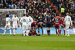 Real Sociedad´s Elustondo gets injured during La Liga match between Real Madrid and Real Sociedad at Santiago Bernabeu stadium in Madrid, Spain. December 30, 2015. (ALTERPHOTOS/Victor Blanco)