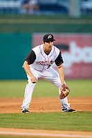 Arkansas Travelers third baseman Seth Mejias-Brean (28) during a game against the Midland RockHounds on May 25, 2017 at Dickey-Stephens Park in Little Rock, Arkansas.  Midland defeated Arkansas 8-1.  (Mike Janes/Four Seam Images)