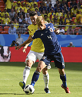 (180619) -- SARANSK, June 19, 2018 -- James Rodriguez (L) of Colombia vies with Keisuke Honda of Japan during a Group H match between Colombia and Japan at the 2018 FIFA World Cup WM Weltmeisterschaft Fussball in Saransk, Russia, June 19, 2018. ) (SP)RUSSIA-SARANSK-2018 WORLD CUP-GROUP H-COLOMBIA VS JAPAN LuixSiuxWai PUBLICATIONxNOTxINxCHN  <br /> Saransk 19-06-2018 Football FIFA World Cup Russia  2018 <br /> Colombia - Japan / Colombia - Giappone <br /> Foto Imago/Insidefoto
