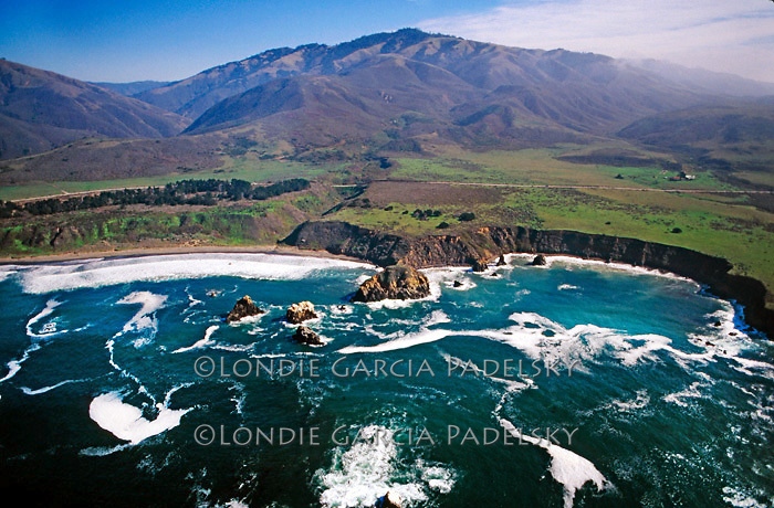 Aerial view of Big Sur Coastline on Scenic Highway 1, Central Coast of California