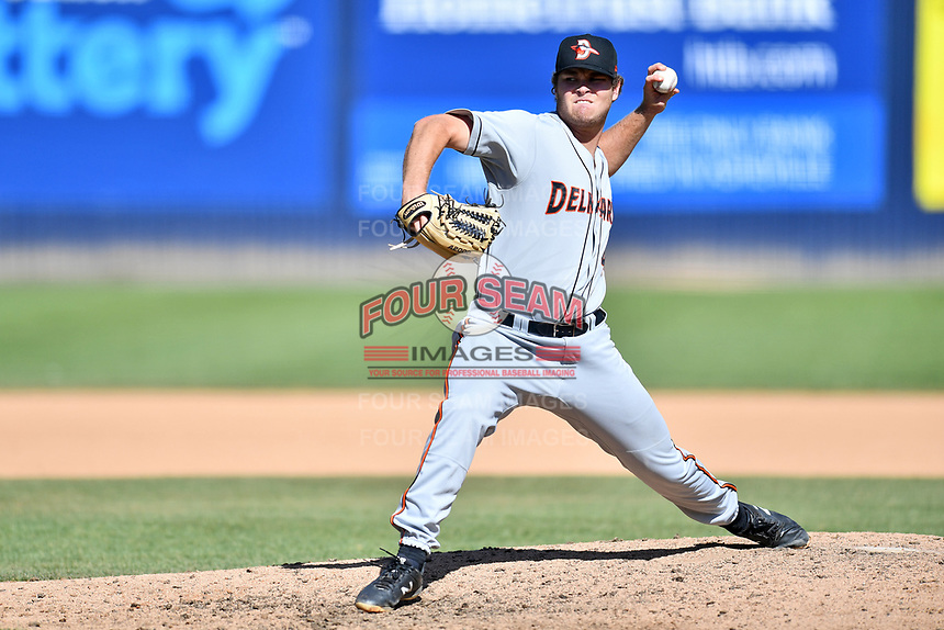 Delmarva Shorebirds pitcher Zach Matson (40) delivers a pitch during a game against the Asheville Tourists at McCormick Field on May 5, 2019 in Asheville, North Carolina. The Shorebirds defeated the Tourists 10-9. (Tony Farlow/Four Seam Images)