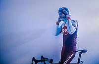 Marco Mathis (DEU/Katusha-Alpecin) getting ready for the pre-race team presentation<br /> <br /> Omloop Het Nieuwsblad 2018<br /> Gent &rsaquo; Meerbeke: 196km (BELGIUM)