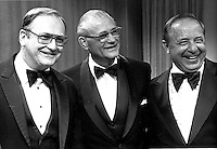 March 5, 1982 -- LEFT TO RIGHT:  Bo Schembechler , Woody Hayes and Earle Bruce in Columbus, OH.  (Columbus Dispatch photo by Ken Chamberlain)